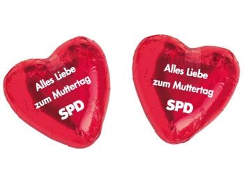 "SPD Schokoladenherz, ""ALLES LIEBE ZUM MUTTERTAG"", 100 Stück (Art.-Nr. 1339)"