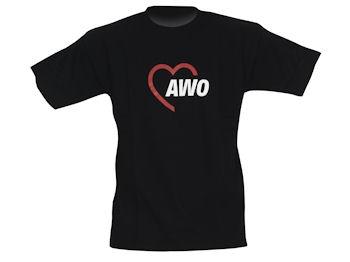 AWO T-Shirt 180 g-Qualität, schwarz, 1 Stück (verschiedene Größen lieferbar) (Art.-Nr. 2080)