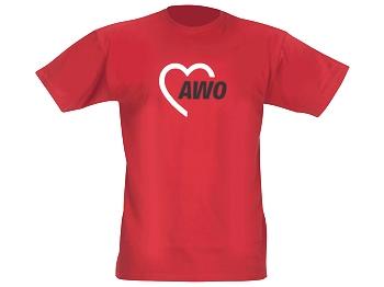 AWO T-Shirt 180 g-Qualität, rot, 1 Stück (verschiedene Größen lieferbar) (Art.-Nr. 2189)