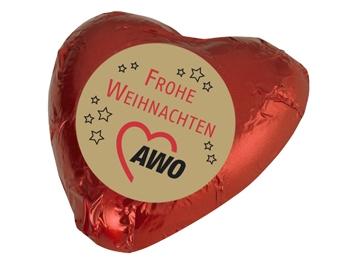 """AWO Schokoladenherz """"FROHE WEIHNACHTEN"""", 100 Stück (Art.-Nr. 2217E)"""