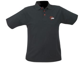 AWO Polohemd, schwarz mit roten Knöpfen, 1 Stück (verschiedene Größen lieferbar) (Art.-Nr. 2326)