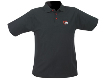 AWO Polohemd, schwarz mit roten Knöpfen, Gr. XS, 1 Stück  (Art.-Nr. 2326-XS)