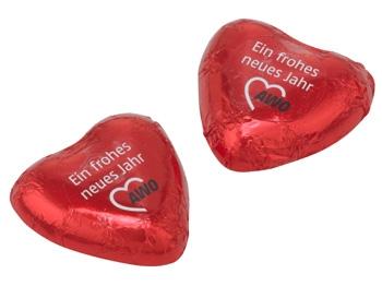 """AWO Schokoladenherz, """"EIN FROHES NEUES JAHR"""", 100 Stück (Art.-Nr. 2334)"""
