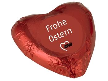 "AWO Schokoladenherz, ""FROHE OSTERN"", 100 Stück (Art.-Nr. 2426)"