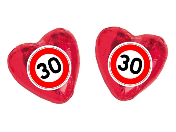 Schokoladenherz mit Etikett Verkehrszeichen 30, 100 Stück = 1 VPE (Art.-Nr. 3100-30)