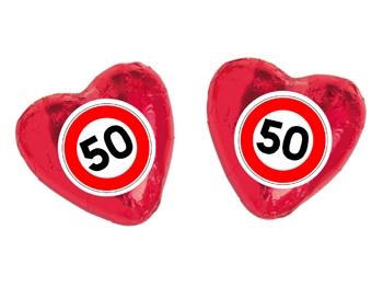 Schokoladenherz mit Etikett Verkehrszeichen 50, 100 Stück = 1 VPE (Art.-Nr. 3100-50)