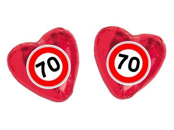 Schokoladenherz mit Etikett Verkehrszeichen 70, 100 Stück = 1 VPE (Art.-Nr. 3100-70)