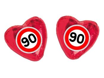 Schokoladenherz mit Etikett Verkehrszeichen 90, 100 Stück = 1 VPE (Art.-Nr. 3100-90)