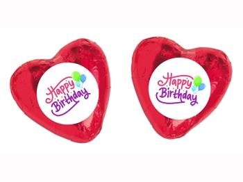 Schokoladenherz mit Etikett Geburtstag Motiv 1, 100 Stück = 1 VPE (Art.-Nr. 3100-G1)