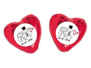 Schokoladenherz mit Etikett Hochzeit Motiv 1, 100 Stück = 1 VPE (Art.-Nr. 3100-H1)