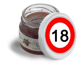 Mini-Marmeladen-Gläschen, mit Etikett Verkehrszeichen 18, 60 Stück = 1 VPE (Art.-Nr. 3200-18)