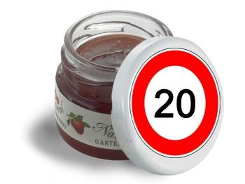 Mini-Marmeladen-Gläschen, mit Etikett Verkehrszeichen 20, 60 Stück = 1 VPE (Art.-Nr. 3200-20)