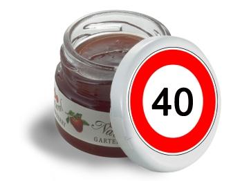 Mini-Marmeladen-Gläschen, mit Etikett Verkehrszeichen 40, 60 Stück = 1 VPE (Art.-Nr. 3200-40)
