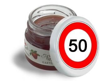 Mini-Marmeladen-Gläschen, mit Etikett Verkehrszeichen 50, 60 Stück = 1 VPE (Art.-Nr. 3200-50)