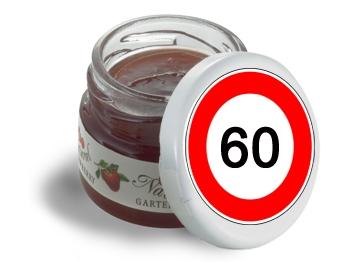 Mini-Marmeladen-Gläschen, mit Etikett Verkehrszeichen 60, 60 Stück = 1 VPE (Art.-Nr. 3200-60)