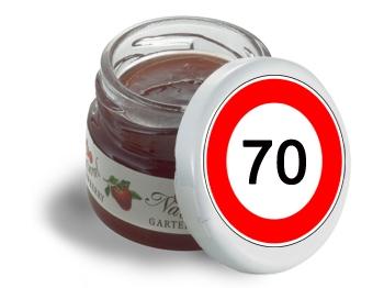 Mini-Marmeladen-Gläschen, mit Etikett Verkehrszeichen 70, 60 Stück = 1 VPE (Art.-Nr. 3200-70)
