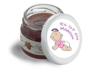 Mini-Marmeladen-Gläschen, mit Etikett Geburt Mädchen 2, 60 Stück = 1 VPE (Art.-Nr. 3200-Ge2)