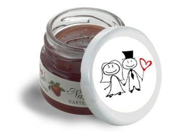 Mini-Marmeladen-Gläschen, mit Etikett Hochzeit Motiv 1, 60 Stück = 1 VPE (Art.-Nr. 3200-H1)