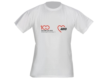 AWO 100-Jahre-T-Shirt, weiß, 1 Stück (verschiedene Größen lieferbar) (Art.-Nr. 62034)