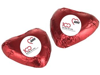 AWO 100-Jahre-Schokoladenherz, 100 Stück (Art.-Nr. 62148)