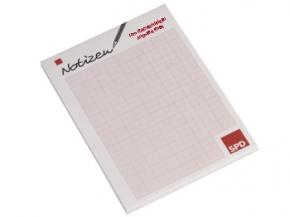SPD Notizblocks Sonderdruck, 1000 Stück = 1 VPE (Staffelpreise beachten) (Art.-Nr. 1135SD)