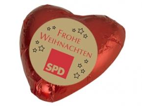 """SPD Schokoladenherz """"Frohe Weihnachten"""", 100 Stück (Art.-Nr. 1156g)"""
