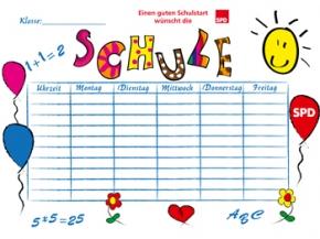 SPD Stundenplan DIN A4, 100 Stück (Art.-Nr. 1323)