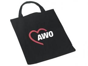 AWO Baumwolltasche schwarz 38 x 42 cm, 10 Stück = 1 VPE (Staffelpreise beachten) (Art.-Nr. 2154)