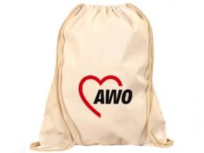 AWO Baumwoll-Rucksack, natur, mit doppeltem Kordelzug, 10 Stück = 1 VPE (Staffelpreise beachten) (Art.-Nr. 2383)