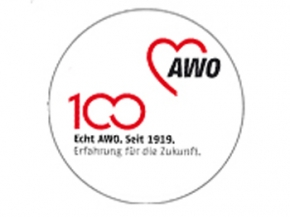 AWO 100-Jahre-Aufkleber 9 cm Ø, weiß, 100 Stück (Art.-Nr. 62008)